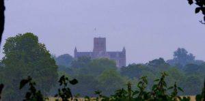 Cathedral seen across fields